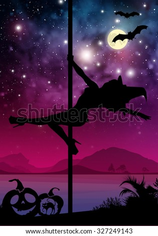 Black vector Halloween style silhouette of female pole dancer. performing pole moves in front of river and stars. Pole dancer in front of space background with Halloween elements. - stock vector