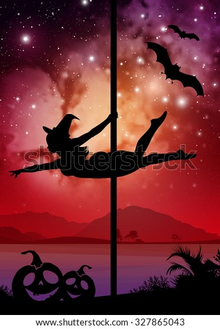 Black vector Halloween style silhouette of female pole dancer performing pole moves in front of river and stars. Pole dancer in front of space background with Halloween elements.  - stock vector