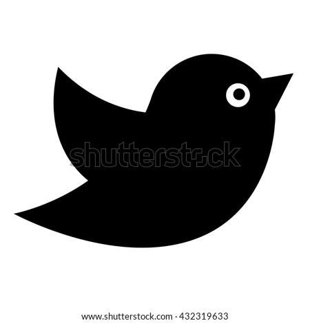 Black vector icon for website. Bird - stock vector