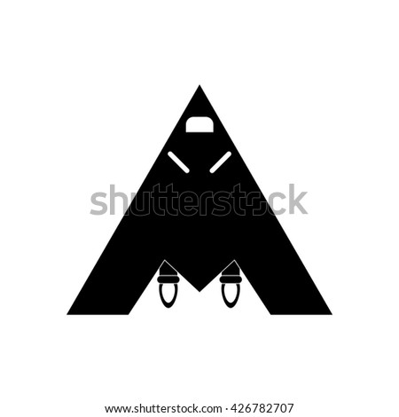 black vector icon on white background military jet fighter - stock vector