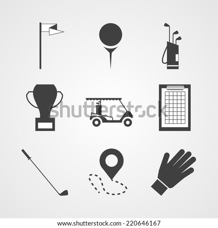 Black vector icons for golf. Set of black silhouette vector icons for golf on gray background. - stock vector