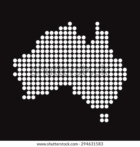 Black Vector map of Australia - stock vector