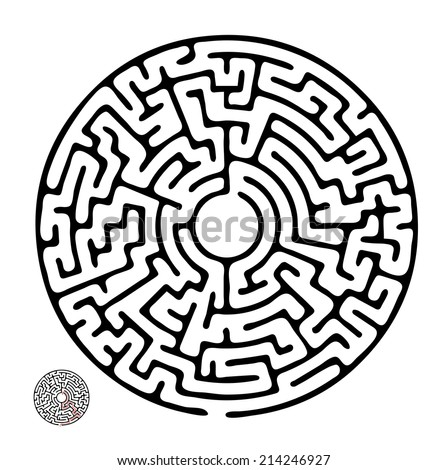 Black vector maze, round labyrinth illustration - stock vector