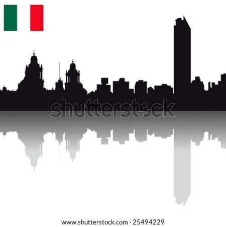 Black vector Mexico silhouette skyline with flag - stock vector
