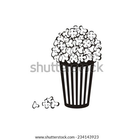 Black vector popcorn icon isolated on white background - stock vector