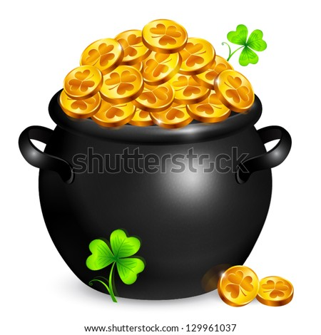 Black vector pot of leprechauns gold with lucky clovers - stock vector