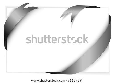 black vector ribbon around blank white paper (where you should write your text) - stock vector