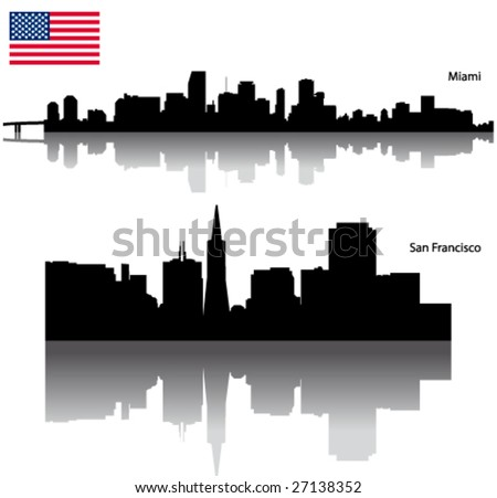 Black vector San Francisco & Miami silhouette skyline with USA flag - stock vector