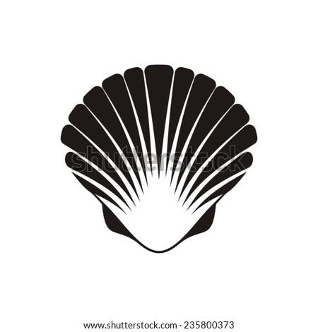 Black vector scallop seashell icon on white background - stock vector