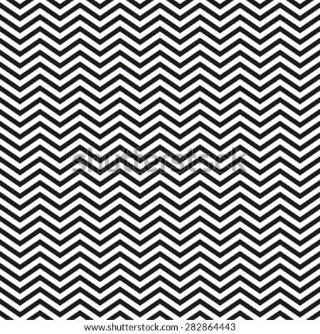 Black vector seamless geometric ethnic zig zag pattern - stock vector