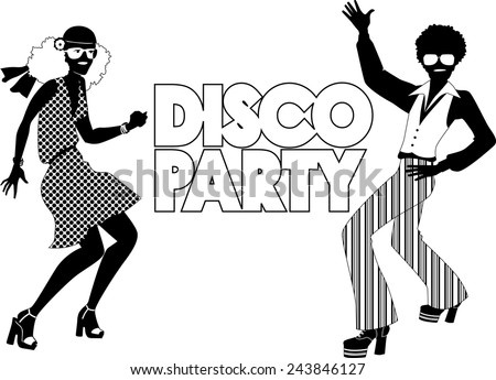 Black vector silhouette for a disco party banner with a dancing couple dressed in 1970s fashion, no white, will look the same on any color background - stock vector