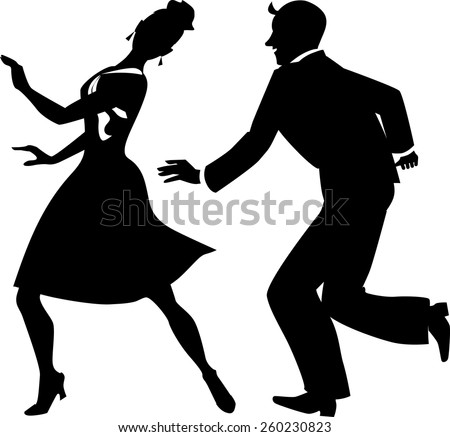 Black vector silhouette of a couple dancing tap or step, no white, EPS 8 - stock vector