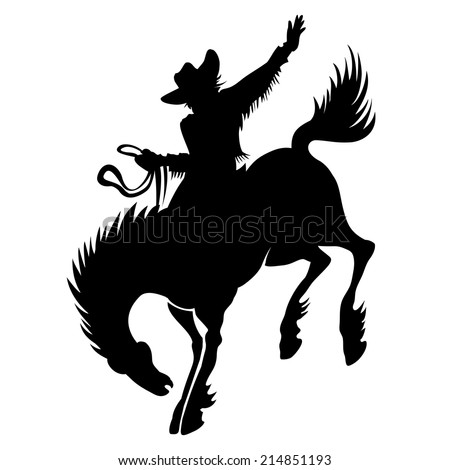 Black vector silhouette of cowboy at rodeo riding wild stallion bucking bronco showing off his horsemanship and skill - stock vector