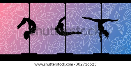 Black vector silhouettes of female pole dancers performing pole moves on abstract floral background. - stock vector