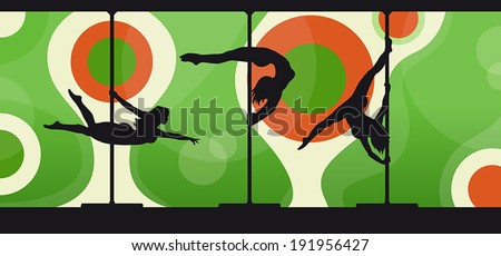 Black vector silhouettes of female pole dancers performing pole moves on abstract green and red background.  - stock vector