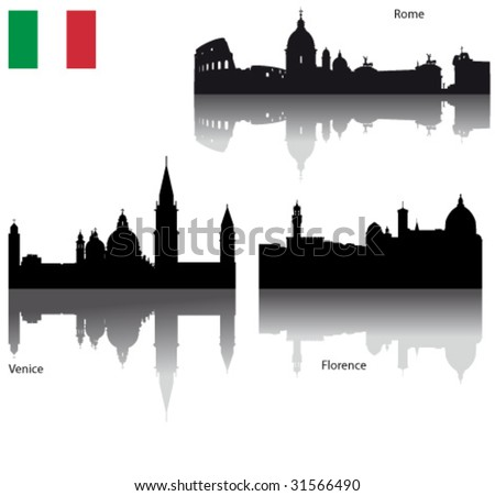 Black vector silhouettes of Italian cities with Italian flag - stock vector