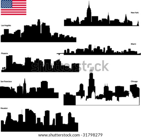 Black vector silhouettes skyline of  USA biggest cities with  flag - stock vector