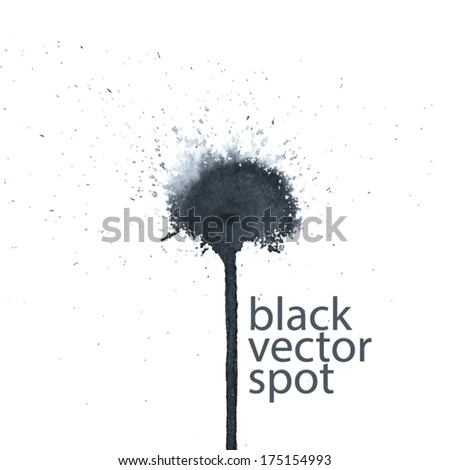 black vector spot with drip water - stock vector