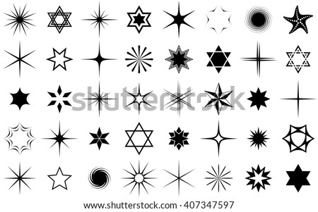Black vector stars collection isolated on white background - stock vector
