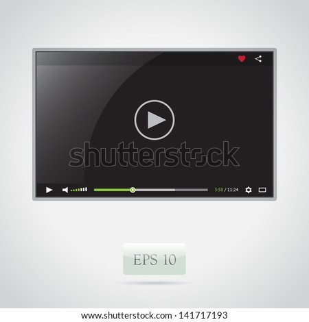 Black video player for web - stock vector
