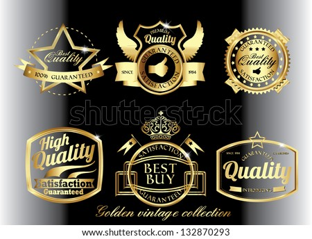 black vintage retro golden quality labels usable on background of any color - stock vector