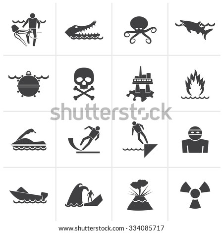 Black Warning Signs for dangers in sea, ocean, beach and rivers - vector icon set 1 - stock vector