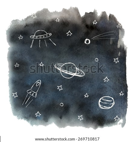 Black watercolor sky background and white hand drawn cosmos objects - stock vector