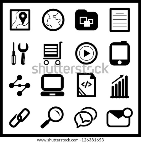 Black web icon set - stock vector