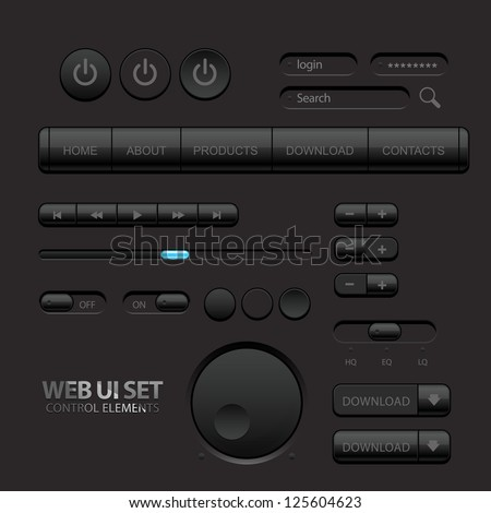 Black Web UI Elements. Buttons, Switches, bars, power buttons, sliders. Part two. Vector illustration - stock vector