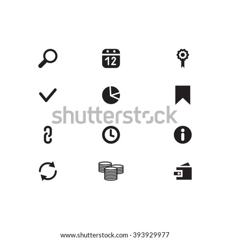 Black Website Icons on isolated background. SEO Icons. Set web icons include: Search, purse, link, arrow, calendar, chain, bookmark; clock, check mark, money, flag - stock vector
