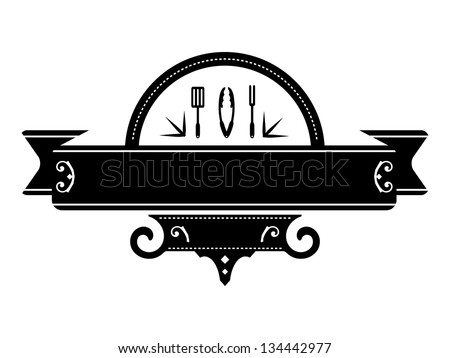 Black Western Cooking Blank Banner with Spatula, Tong and Fork Icons. - stock vector