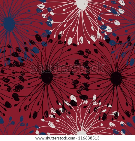 Black, white and blue grunge radial pattern. Decorative floral seamless background for cards, crafts, textile, wallpapers, web pages - stock vector