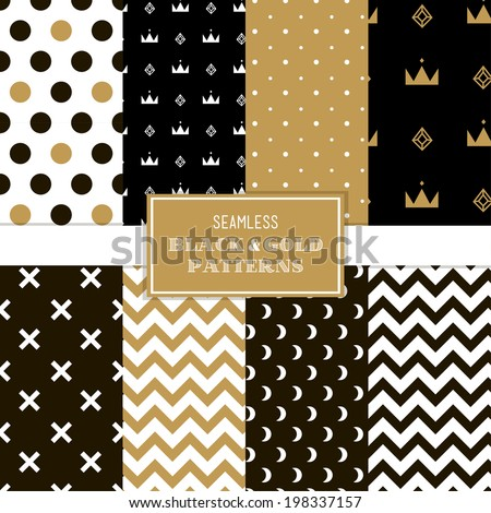 Black, white and gold simple trendy patterns. Simple to edit. Vector, eps10 - stock vector