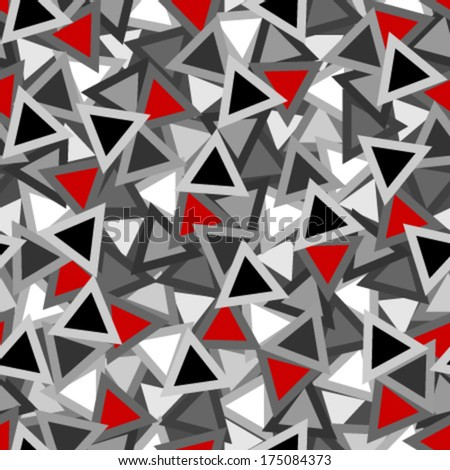 black, white and red outlined triangles seamless pattern - stock vector