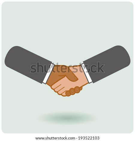 Black & white businessmen handshake icon. A handshake between an African American and a Caucasian businessman. - stock vector