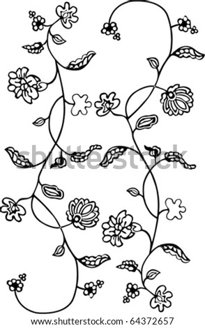 Black - white floral pattern background. - stock vector