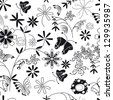 black white pattern of flowers and stems - stock vector