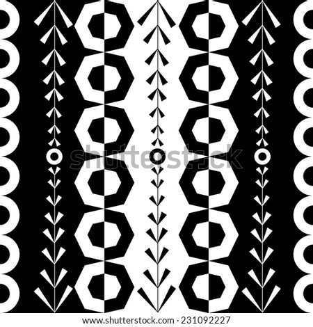 black white polygon abstract seamless pattern - stock vector