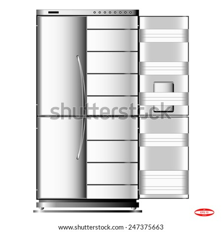 black white refrigerator isolated on white background vector - stock vector