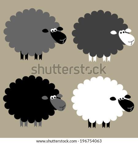 black & white sheep set - stock vector