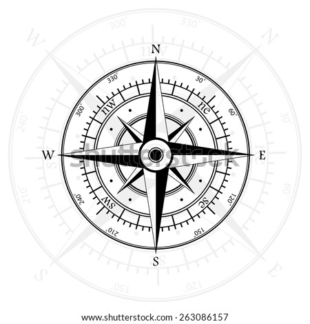 Black wind rose isolated on gray with compass arrow. eps10 - stock vector