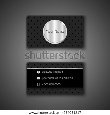 Black with silver business card  template,  background pattern vector design editable. Vector eps10. - stock vector