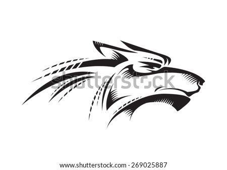 Black wolf head profile isolated on white in vector. Works well as a tattoo, logo, print or mascot. - stock vector