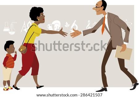 Black woman with a little boy meeting a teacher, vector cartoon, no transparencies, EPS 8 - stock vector