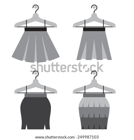 Black Women Skirts With Hangers Vector Illustration - stock vector