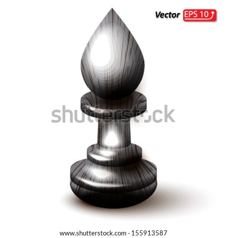 black wooden bishop , chess piece , chess icon, chess figure , isolated on white background vector - stock vector