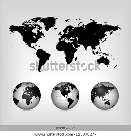 black world globe - stock vector