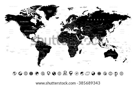Black World Map and Globe Icons - illustration  Image contains next layers: - land contours - country and land names - city names - water object names  - stock vector