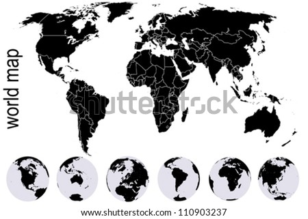 Black world map with set of Earth globes - stock vector