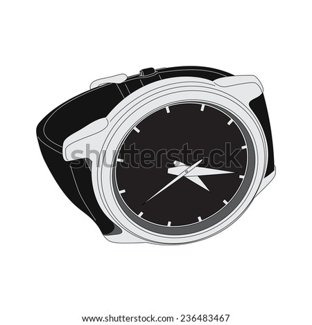 black wristwatch on white background - stock vector